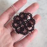 Beaded Black Lace Pendant i..