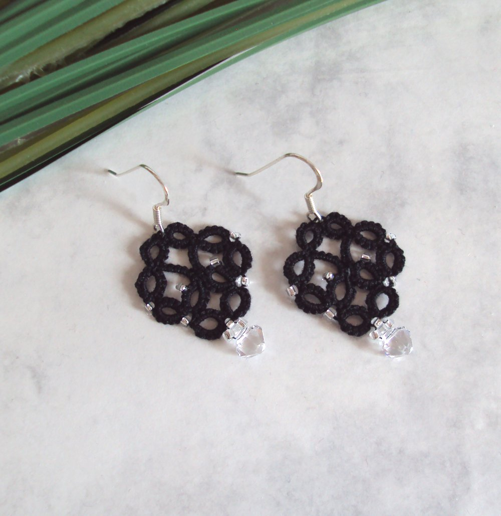 Gothic Fashion Earrings in Tatting