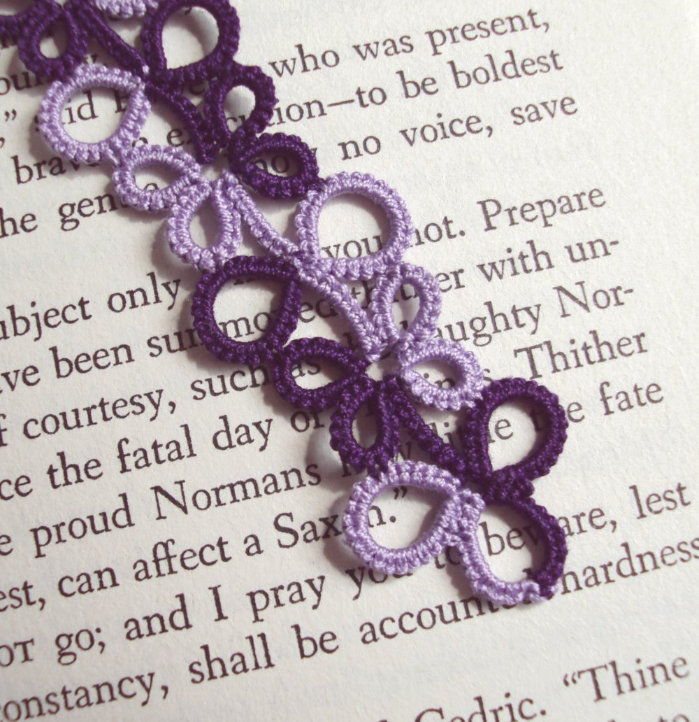 Two-tone Purple Tatted Lace Bookmark