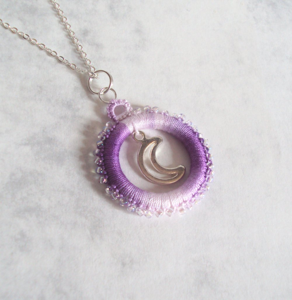 Fantasy Beaded Moon Pendant