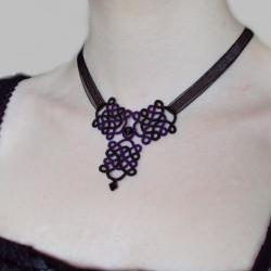 Gothic Black Purple Necklace in Tatting