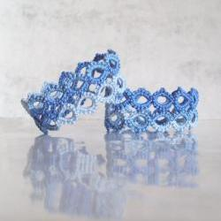 Set of Two Blue Napkin Holders in Tatting