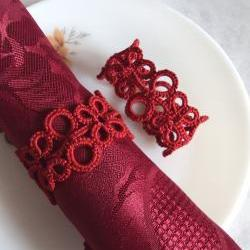 Set of Two Red Napkin Rings