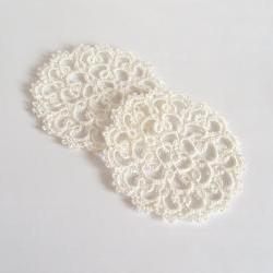 Set of Two Ivory Lace Coasters