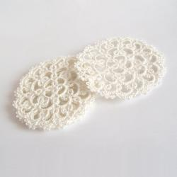 Set Of Four Ivory Lace Wedding Coasters
