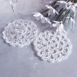 White Lace Wedding Coasters (Set of Two)
