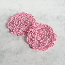 Tatted Rose Coasters in Pink - Set Of Two
