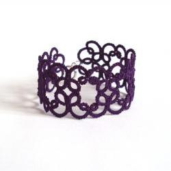Dark Purple Tatted Bracelet